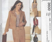 McCall's 3600 Unlined jacket,top,pants and skirt.Size:6,8,10,12