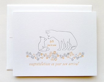 Letterpress Baby Congratulations - Single Card