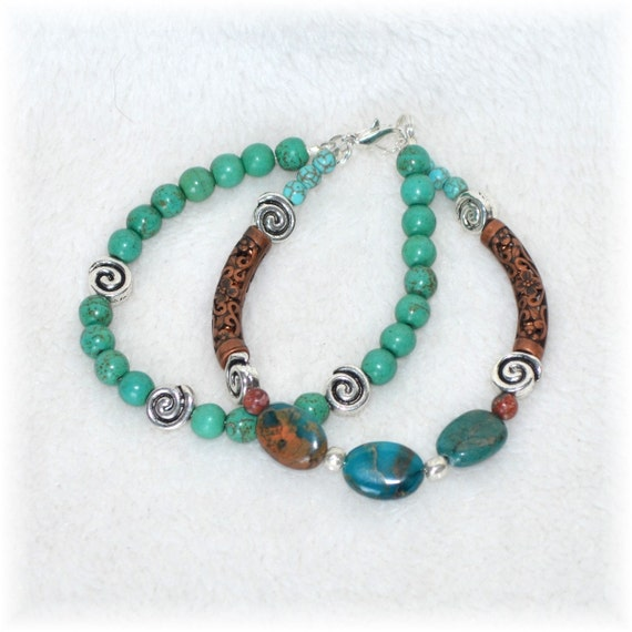 Turquoise, Copper and Serpentine Stone Beaded Bracelet