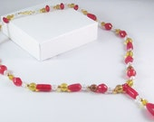 Beaded Necklace in Red and Amber
