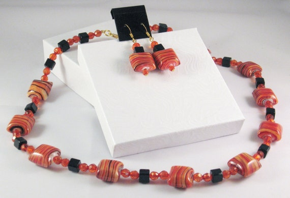 2 Piece Jewelry Set in Orange and Black