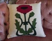sale * Art Nouveau Red Poppy flower wool felt applique throw pillow / cushion cover - vintage linen