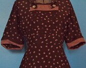 1940's Floral Dress/ Vintage Print Dress With Rhinestone Buttons