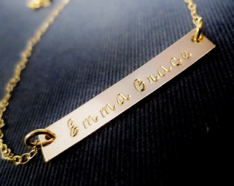 Gold Bar Necklace, Personalized Handstamped Name Initials, Minimal Gold Filled, Mothers Day, Graduation