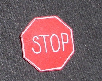 Reduced Price........Stop Sign Pin......Vintage Octagonal  Stop Sign  ....Wood Pin