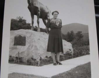 Woman with Elk  Deer  Antlered Animal Statue ...1940's Vintage Photo