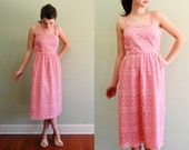 70s Pink Dress / Lace Dress / Spring Sleeveless / S - M
