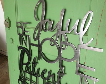Be Joyful in hope, patient in affliction, faithful in prayer Metal Scripture Wall Hanging- Romans 12:12