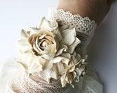 Ivory leather rose flower bracelet - Made to Order