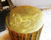 Rare Small Antique Victorian French Country Brass Etched Dog Dachshund Terrier Trinket Snuff Vesta Box Matchholder Vintage 1890s Farmhouse