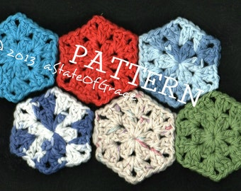Facial Scrubbie, Crochet PATTERN, 6 sided, INSTANT DOWNLOAD