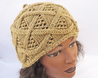Handknitted Women Hat, Hat with Buttons, Cable Patern, Beige Hat, UK Seller