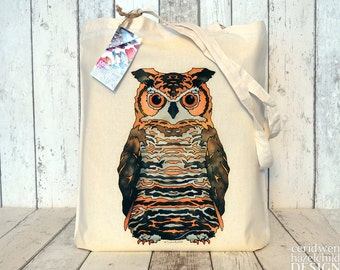 Owl Tote Bag, Ethically Produced Shopping Bag, Reusable Shopper Bag, Cotton Tote, Eco Tote Bag