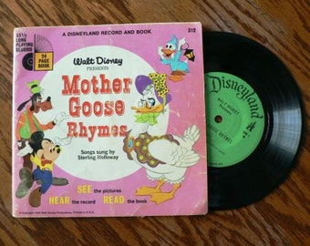 vintage Tunes ... Walt Disney MOTHER GOOSE Rhymes Book and 45 RECORD  ...