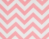 Light Pink and White Chevron Zig Zag Cotton Fabric 1 yard...More Yardage Available