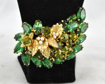 Signed Designer Weiss Emerald Green Prong  Set Vintage Brooch Pin FREE SHIPPING SALE 1940's 1940s bridal