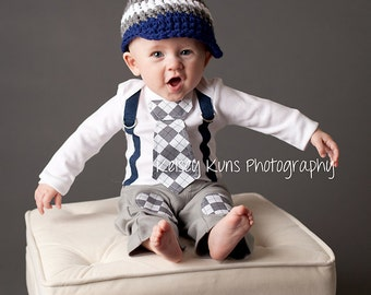 Navy and Grey Argyle Baby Boy Tie Bodysuit with Suspenders and Crocheted Hat - Little Man, Argyle, Photo Prop