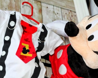 Mickey Mouse Birthday Tie and Suspenders Bodysuit for Baby Boy First Birthday Disney Clothing Birthday Party Little Man Tie Outfit