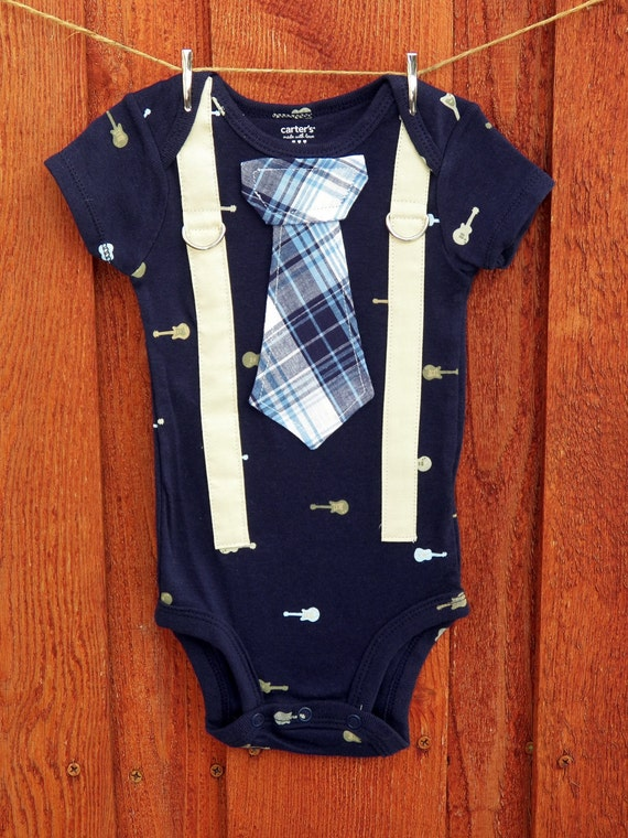 READY TO SHIP - Baby Boy Tie Onesie with Suspenders - Rocker, Guitar - Baby shower gift, Photo Prop, 24 or 12 Months