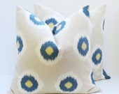 Ikat Pillow Throw Pillow Covers 16x16 Blue  Cream Pillows  Printed fabric front and back. Housewares.Spots Home Decor