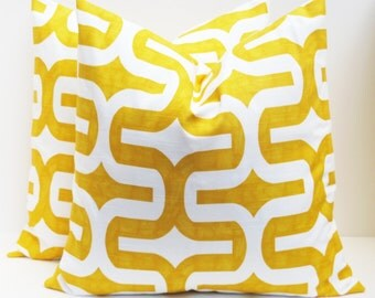 Throw Pillow Covers 18x18. Yellow Pillow.Ikat Pillow.Yellow and White.Decorator Pillow Cover Printed fabric Front and Back