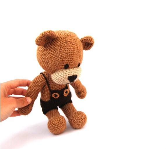 Items similar to crocheted boy teddy bear, fall stuffed ...