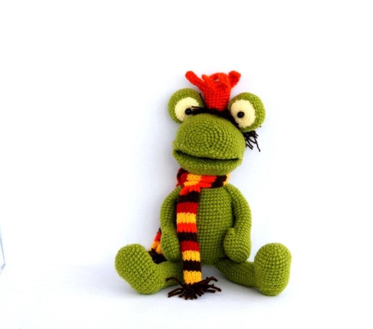 Amigurumi Green Frog : crocheted frog stuffed green frog amigurumi handmade stuffed