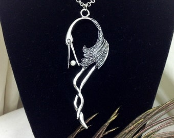 Silver crane and seed pearl necklace