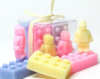 Lego Blocks and Mini Men Kid Soaps - Kid Party Favors -  One Set contains 6 mini soaps