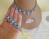 Vintage Blue Rhinestone Set  Necklace and bracelet , Bridal jewelry