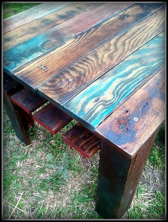 Custom Multi Color Reclaimed Pallet Wood Side Table