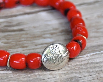 Red Coral Silver Fish Bead Bracelet by BeadRustic | FREE SHIPPING