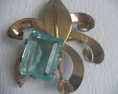 Art Deco Style Sterling Silver and Large Aqua Blue Glass Stone Brooch Vintage Jewelry