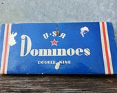 vintage antique dominoes original boxed set of 35, made in the USA, statue of liberty dominoes, 1950s