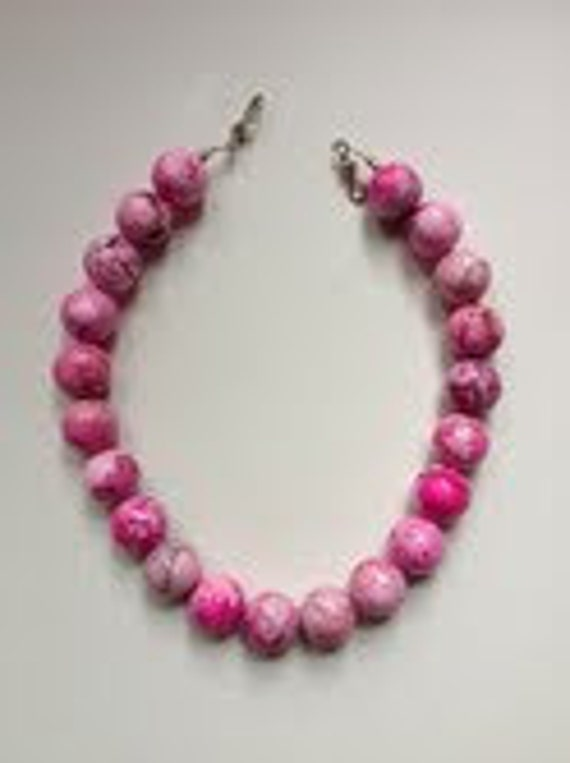 Penny necklace - Simple, elegant, preppy statement.  Large pink howlite stone beads.