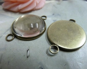 20PCS Antique bronze 18mm Round Bezel Mountings Wholesale- W326