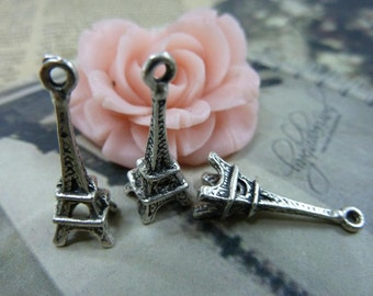 40PCS antique silver 8x23mm Eiffel Tower charm pendant- WC114-2