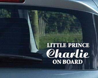 Custom Name Little PRINCE ON BOARD Vinyl Bumper Car Decal Sticker