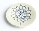 Ceramic Blue Flower Ring Dish Minimalist Round Plate White Pottery - Ceraminic