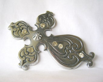SALE - SALE - pewter cross large, for assemblage art, collages, etc