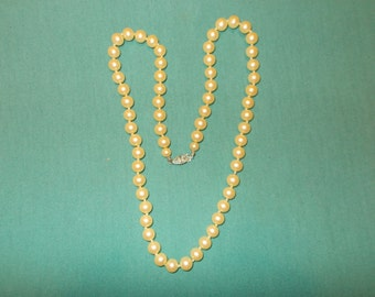 """One (1), Faux, 22"""" Strand of Pearls, with Sterling Silver Safety Clasp.  Circa 1950's."""