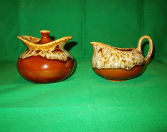 One (1), Sugar Bowl with Lid, & 8 oz Creamer, in Brown Drip Pattern, USA