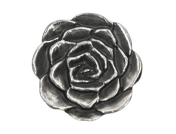 Danforth Rose 5/8 inch ( 16 mm ) Pewter Shank Button