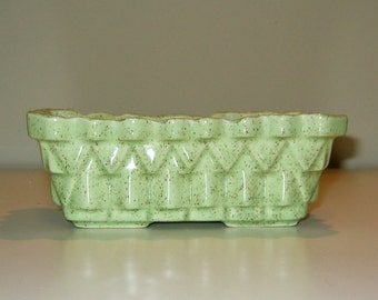 Vintage Upco Speckled Apple Green Planter. Circa 1950s