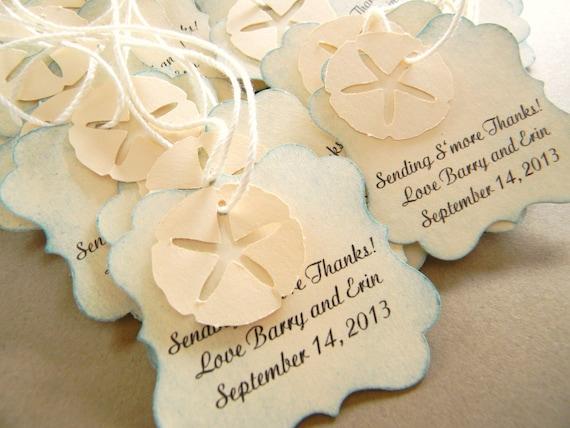 Beach Wedding Favor Tags for Bags Starfish Sand Dollar 48 tags
