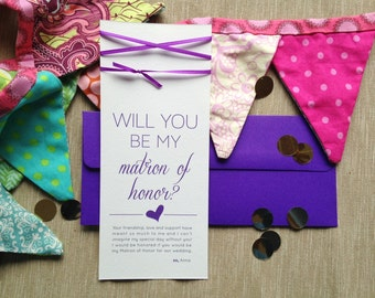 """Purple Ribbon """"Will You Be My Bridesmaid"""" Card and Envelope"""