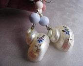 Painted Shell Earrings - Dangle Nautical Earrings - Statement Earrings