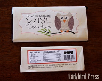 Teacher Appreciation Gift - Candy Bar Wrapper - Printable - PDF - Owl