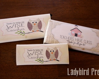 Teacher Appreciation Gift - Candy Bar Wrapper - Printable - PDF - Owl and School House - Instant Download