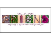 Words Inspired by Nature: FRIEND Photographic Print- Purple & Green (inspirational art, gift, home decor, flowers)